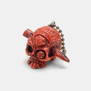 Pain Skull Resin KeyChain_Orange