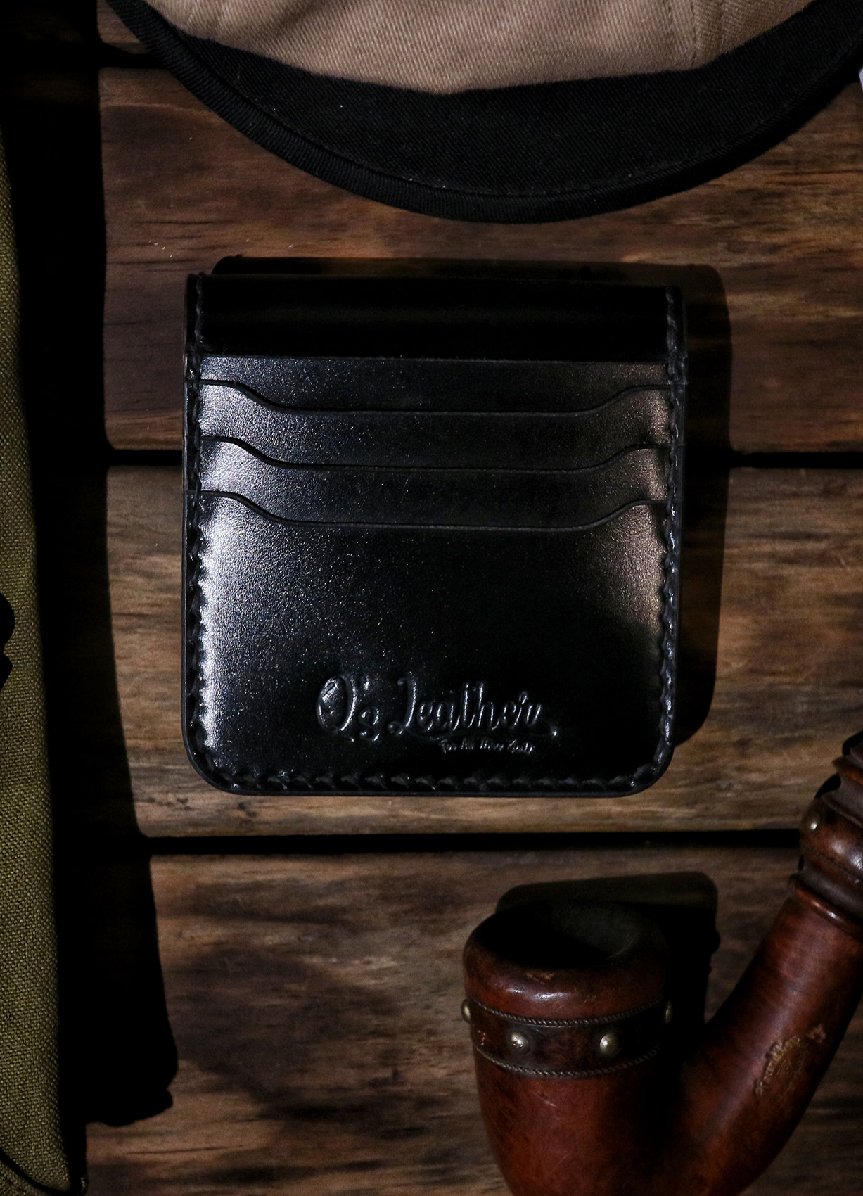 Q's Coin pocket card wallet BLACK/BRIDLE