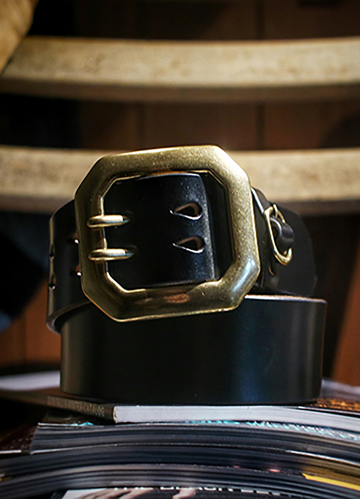 Qs 38mm Octagon brass double pins belt BLACK/BRIDLE
