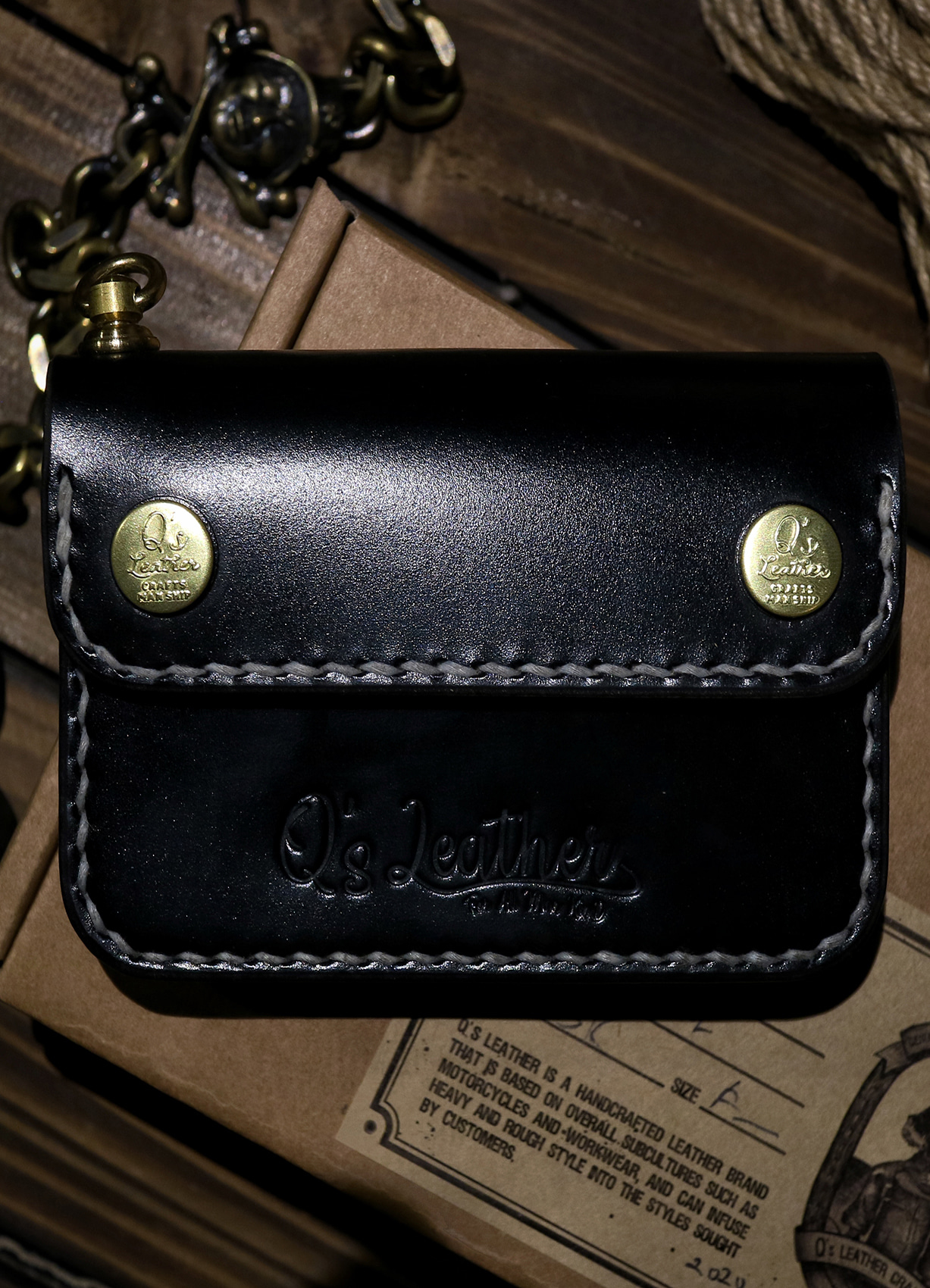 Q's mini trucker wallet BLACK/BRIDLE