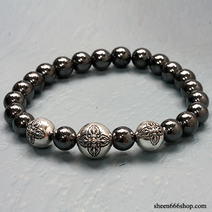 Stone Bracelt with Dorje ball Hematite